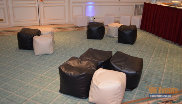giant soft seating with bean bags and cube seats