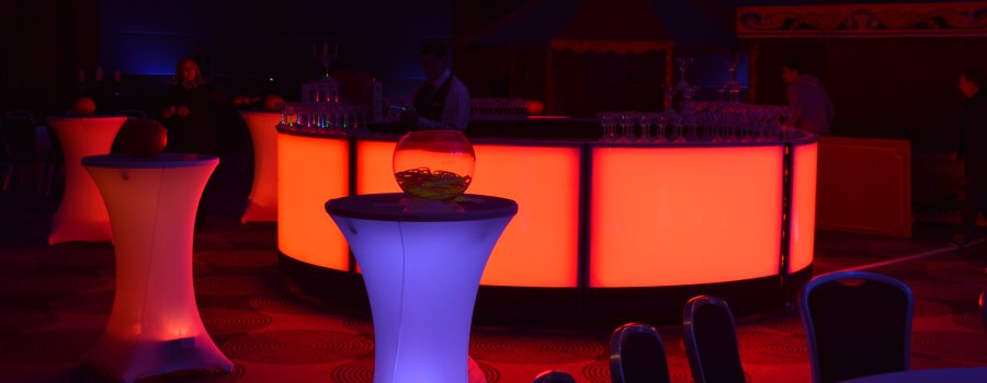 LED Cocktail bar and poseur tables