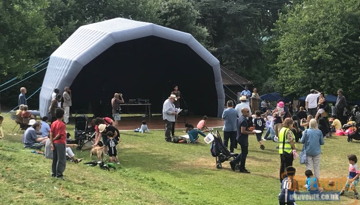 family fun day stage roof that inflates in under 10 minutes