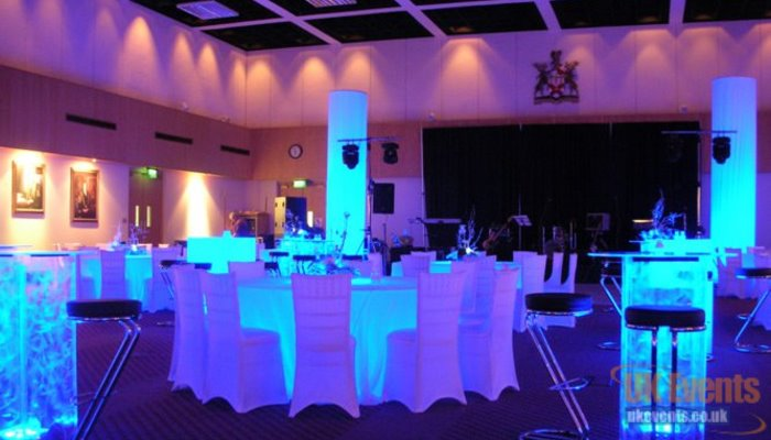 led banquet tables for a works party