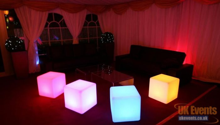 Multi coloured LED cubes used for extra seating