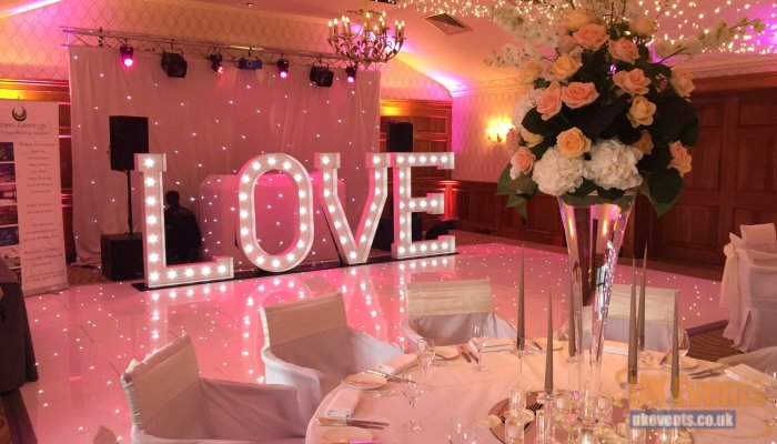 Giant Light Up Love Letters in white used for a wedding reception