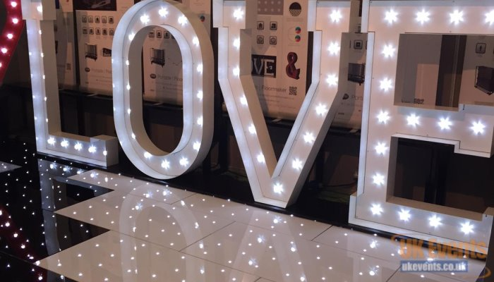 free standing light up LED Love Letters available to hire.