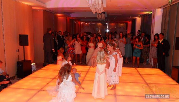 Orange LED illuminated dance floor