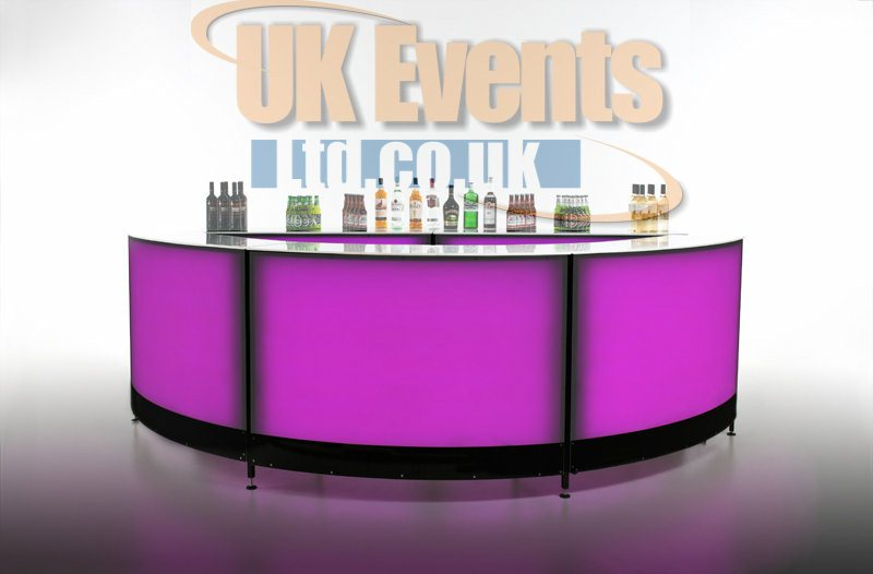 circular LED cocktail colour changing bar hire