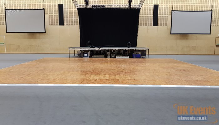 Oak Parquet dance floor for an indoor event in a sports hall