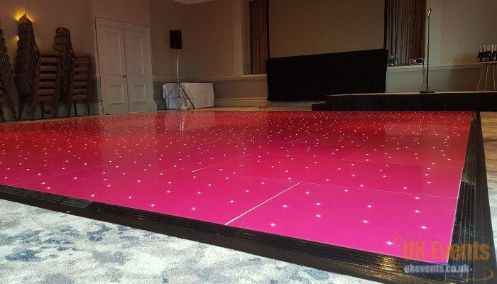 pink sparkly wedding dance floor