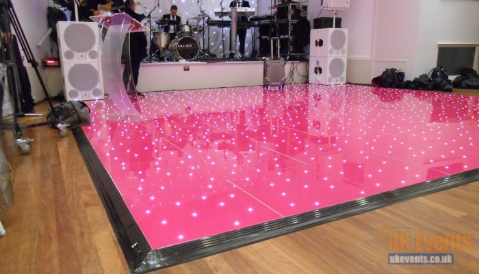 The world's first Pink Starlit dance floor available to hire at UK Events Ltd