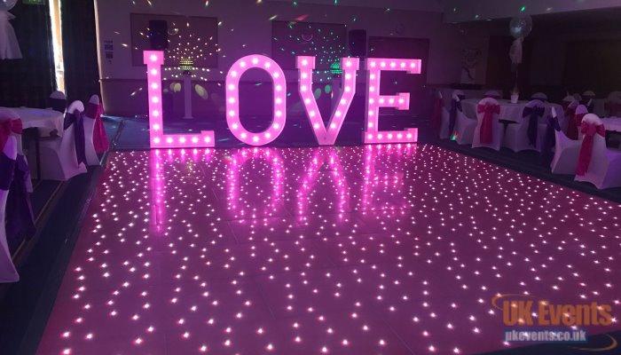 pink wedding dance floor in Surrey