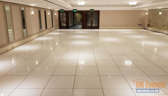 a huge white floor walkway for a corporate function at The Grosvenor Hotel in London