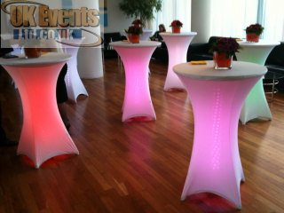 LLight up Poseur tables in Bedfordshire