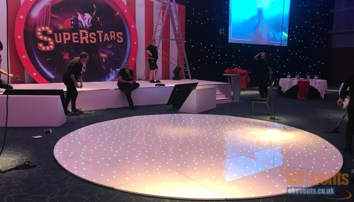 New Circular round dance floor rentals with RGB twinkly lights
