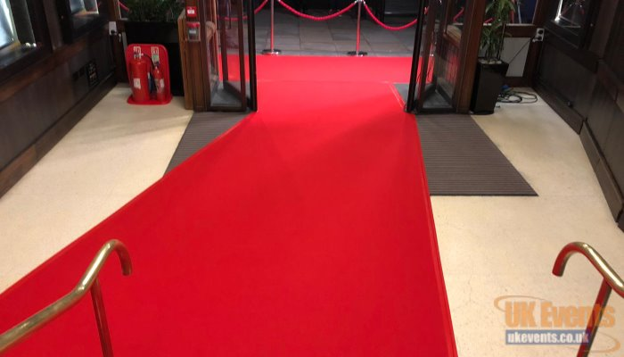 A vip red carpet for a cinema in London promoting an awards night
