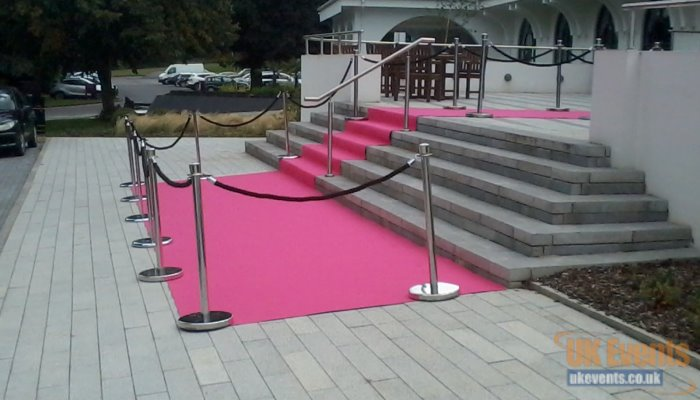 pink vip carpet hired for a masion house to go outside and down some stairs