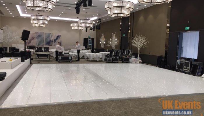 white sparkly wedding dance floor