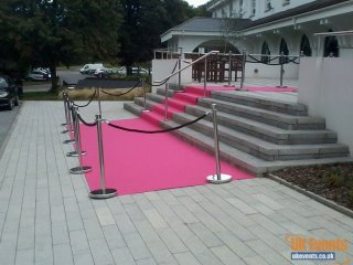 pink carpet hired for a company promotion