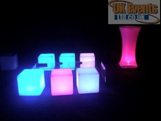 LED Cube seats and tablese