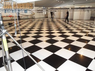 huge black and white dance floor at Thorpe Park