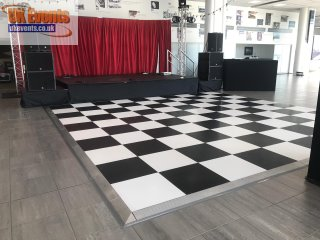 a black and white dance floor for a hotel party