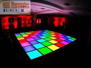 Lighting up dance floor for wedding party