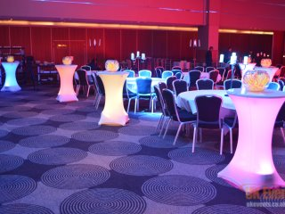 Colourful light up poseur tables