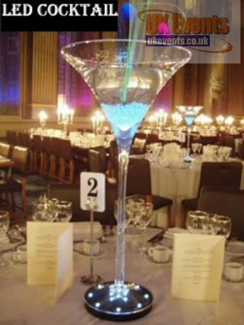 LED Cocktail Glass Table Centre