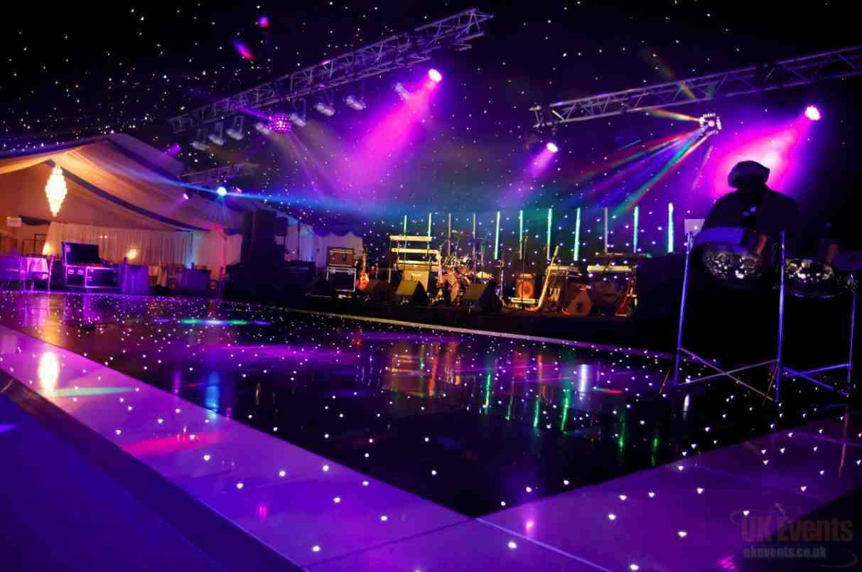 Black and White Starlit LED Dance Floor Hire