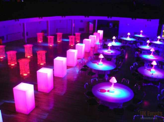 LED Colour Changing Poseur Table and Cube Hire